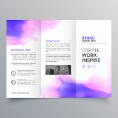 Elegant Watercolor Trifold Brochure Vector Design Template poster