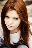foto of red hair  - Closeup portrait of a beautiful young girl - JPG