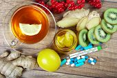 Tea For Cold And Flu. Vitamin Tea, Honey, Lemons And Viburnum, Thermometer And Tablets. Medicines Fo poster