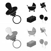 Stroller, Windmill, Lego, Balloons.toys Set Collection Icons In Black, Monochrom Style Vector Symbol poster