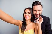 Selfie Portrait Photo Of Lovely Couple, Family, Woman Making Selfie On Smart Phone With Her Elegant  poster