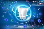 Teeth Protection Concept Vector Realistic Illustration. Oral Care, Dental Health Concept Design Temp poster