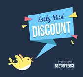 Early Bird Discount Banner With Cute Bird And Geomethic Shapes. Promotional Design Template On Blue  poster