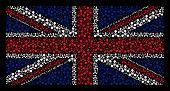 Постер, плакат: British Flag Composition Created Of Wmd Nerve Agent Chemical Warfare Icons On A Dark Background Vec