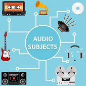 Audio Items, A Set Of Audio Systems. Flat Design, Vector Illustration, Vector. poster