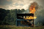Fire, Art, Halloween, Trash, Bonfire. Pop Music, Melody, Rhapsody, Looting. Burning Piano, Musical S poster