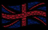 Waving British Official Flag Mosaic Combined Of Diamond Pictograms. Vector Diamond Pictograms Are Un poster