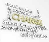 The word Change in gold 3D letters and other words that symbolize changing in order to achieve succe