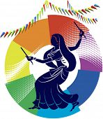 Garba Dancer in rainbow backdrop