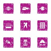 Scientific Medicine Icons Set. Grunge Set Of 9 Scientific Medicine Vector Icons For Web Isolated On  poster