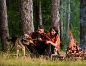 Woman And Handsome Man On Vacation, Hiking, Camping. Couple With German Shepherd Dog Near Bonfire, F poster