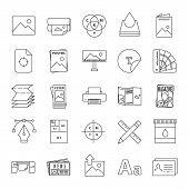 Printing Linear Icons Set. Polygraphy And Typography. Posters, Flyers, Brochures, Booklets Templates poster