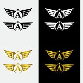 A, Wings Logo Collection - Golden Auto Wings Logo Template. A, Golden Wing Logo Company, Emblem Wing poster