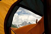 View From Tent On Mountains