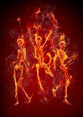 Dancing fire skeletons