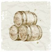 Grunge hand drawn wooden barrels on vintage paper background - vector illustration