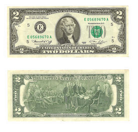 image of two dollar bill  - Front and back of an isolated United States two dollar bill on a white background - JPG