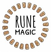 Rune Magic. Runic Wreath Of Celtic Symbols. Set Of Wooden Runes In Circle Composition. Collection Of poster