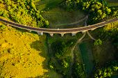 Aerial view of old viaduct. Location Ukraine, Europe. Scenic image of popular european tourist attra poster