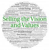 Vendiendo el concepto de visión y valores en la nube de etiquetas de palabra sobre fondo blanco