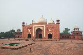 Taj Mahal Mosque Sunrise View. Agra, India, 01.12.2019 poster