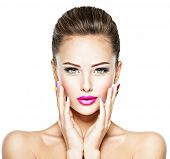Face of a beautiful woman  with fashion makeup. Fashion model is  in the creative style  poster