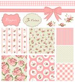 Vintage Rose Pattern, frames and cute seamless backgrounds. Ideal for printing onto fabric and paper