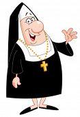 Smiling nun waving