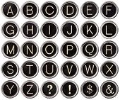 Vintage Typewriter Key Alphabet