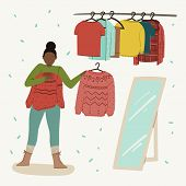 Woman Is Trying On Clothes In Clothing Store, Second Hand, Garage Sale Or Clothes Swap Party. Hand D poster