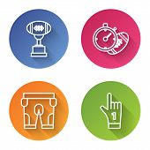Set Line Award Cup And American Football Ball, American Football Ball And Stopwatch, American Footba poster