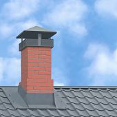 Red Brick Chimney, Grey Steel Tile Roof Texture, Gray Tiled Roofing, Large Detailed Vertical Closeup poster