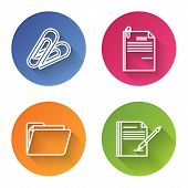 Set Line Paper Clip, File Document And Paper Clip, Document Folder And Blank Notebook And Pen. Color poster