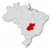 Map Of Brazil, Goiás Highlighted