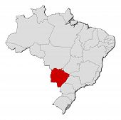 Map Of Brazil, Mato Grosso Do Sul Highlighted