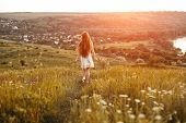Back View Of Anonymous Carefree Young Woman With Long Hair Running On Grass During Sundown In Summer poster