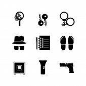 Icons Detective Crime. Find Icon, Investigate Concept Symbol. Crime Investigation Concept. Set Black poster