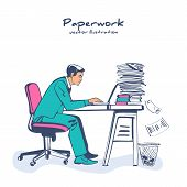 Paperwork Concept. Businessman At Desk Working On Paperwork. Office Worker. Working Office Atmospher poster