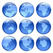 pic of world-globe  - rasterized pseudo 3d vector glowing globe views - JPG