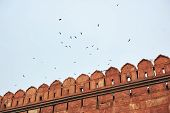 Red Fort Or Lal Qila In Delhi, India. Ancient Fortress Wall Made Of Red Sandstone With Flock Of Bird poster