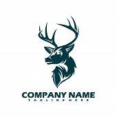 Mono Line Design Deer Head Isolated White Background. Deer Head Gold Logo Icon. Deer Icon Art. Deer  poster