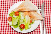 A Traditional Snack Of A Toasted Sandwich With Salad A Traditional Light Meal Of A Cheese And Bean T poster
