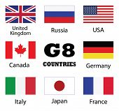 G8 Countries Flag Collection. Uk,russia,usa,canada,germany,italy,japan And France Countries Flags poster