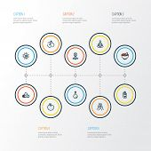 Meditation Icons Colored Line Set With Sun, Prayer, Healthy Food And Other Palm Elements. Isolated I poster