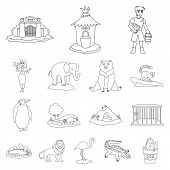 Vector Illustration Of Entertainment And Forest Symbol. Set Of Entertainment And Park Vector Icon Fo poster