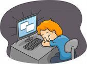 Illustration of a Guy Sleeping in Front of His Computer