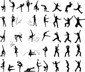 Many Silhouettes Of People In Action