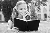 Schoolgirl Read Stories While Relaxing Green Lawn. Cute Pupil Enjoy Reading. School Time. Interestin poster