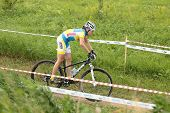 MOSCOW, RUSSIA - JUNE 9: Marta Tereshchuk (Ukraine) races during the European Mountain Bike Cross-Country Championship in Moscow, Russia at June 9, 2012