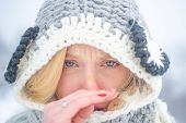 Portrait Of Young Woman Having Flu And Blowing Her Nose. Young Woman With Nose Wiper Near Winter Tre poster